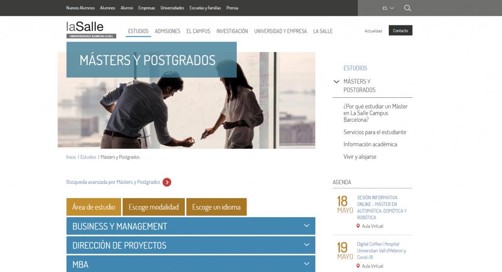 Caso práctico seoon page para masters y postgrados