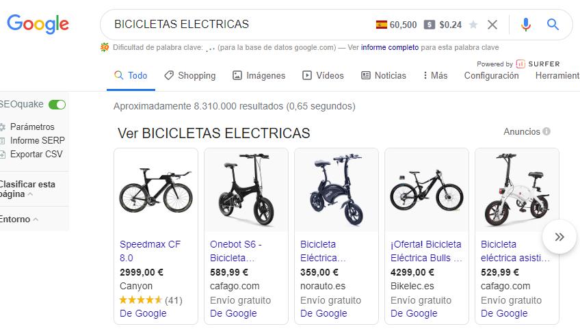 Caso de estudio SEO para palabra clave bicicleta electrica