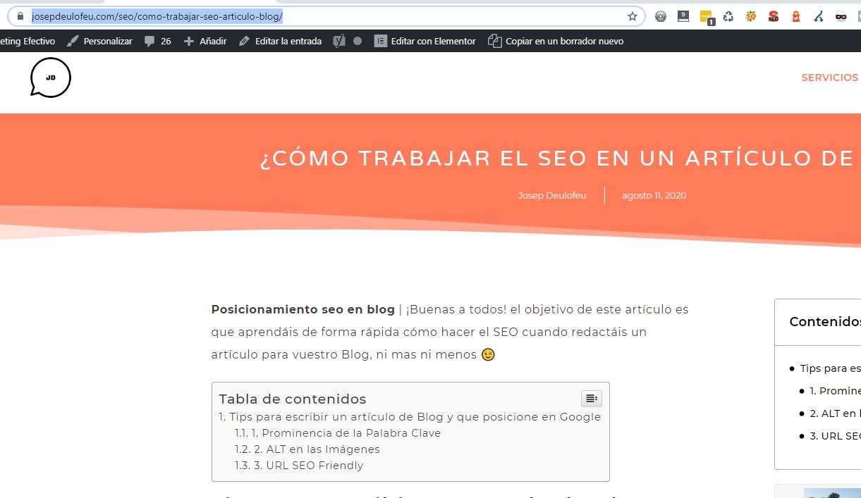 ¿Cómo trabajar el SEO en un artículo de Blog?