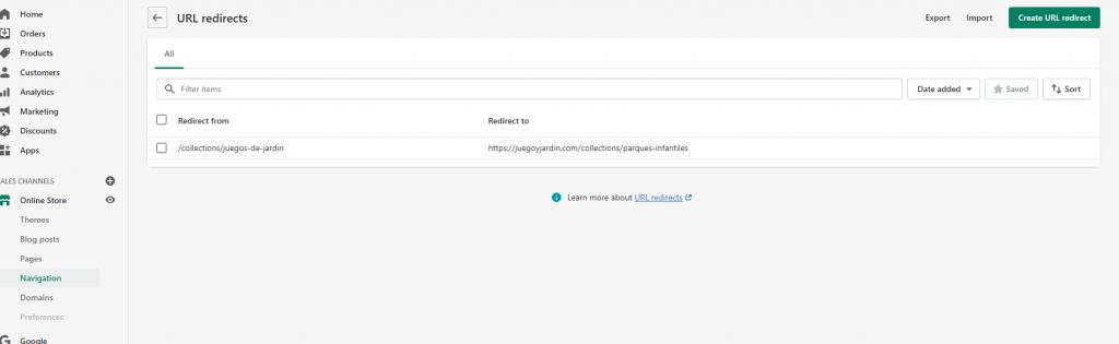 Modulo de redirecciones de Shopify